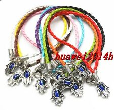"New 10/100Pcs Leather cord Mixed HAMSA HAND ""Evil Eye""String Bracelets Lucky"