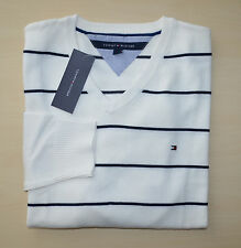 NWT Men's Tommy Hilfiger V-Neck Argyle Pullover Sweater, White, M, L, , XL, 2XL