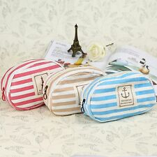 Navy Stripe Canvas Bag Pouch Makeup Cosmetic Pencil Coin Key Case Storage Purse