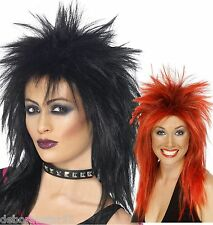 Black Punk Wig Mullet  Red Smiffys Rock Diva  80s Spikey Fancy Dress Costume Wig