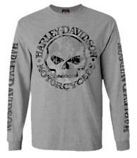 Harley-Davidson Men's Shirt, Willie G Skull Long Sleeve Tee, Gray 30296651