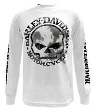 Harley-Davidson Men's Shirt, Willie G Skull Long Sleeve Tee, White 30296646