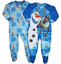 Disney FROZEN Toddler Boys Olaf Blanket Sleeper 2 Sets Footed Pajamas Size 4T