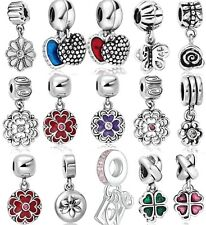 Flower 925 Sterling Silver European Bead Charm Custom Jewelry For Snake Bracelet