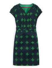 Boden Women's Brand New Yasmin Dress Greens Flower Print Cotton Belted Shift