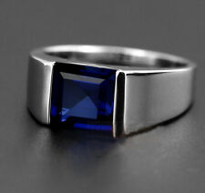 Size 8-12 Classic HI-Q Mens 925 Silver Square Blue Sapphire Band Ring NOT Fade