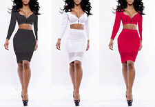 Womens Bodycon Bandage Crop Top Skirt Two Piece Set Party Sexy Summer Slim Dress