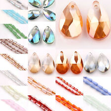 Lots Faceted Glass Crystal Point Teardrop Pendant Bead Jewelry Findings DIY