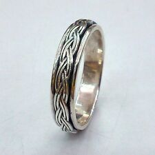 MENS STERLING SILVER SPINNING DESIGN    RING 5MM Wide Various Sizes Wedding