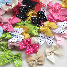 60 pcs Lots  Dot Satin Ribbon Flowers Bows Gift Craft Wedding Decoration