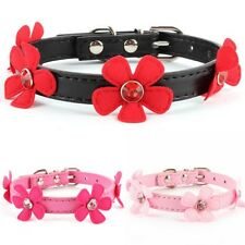 Adjustable Flower Neck Strap Pet Small Dog Cat PU Leather Collar Buckle XS S M L