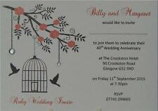 Personalised Invites Wedding Anniversaries 25th 30th 40th 50th 60th Diamantes
