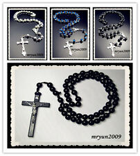 NWT Rosary INRI Blue Black AB Crystal Wood beads cross pendant Beaded Necklace #