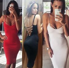 Sexy Women Plunge Vneck Bandage Backless Pencil Bodycon Sheath Club Cami Dress B