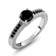 1.00 Ct Round Black AAA Diamond 925 Sterling Silver Engagement Ring