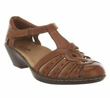 Clarks Leather Cut-out Velcro Strap Fisherman Sandal Shoe WENDY TIGER CHOICE $80