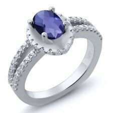 1.16 Ct Oval Checkerboard Blue Iolite 925 Sterling Silver Ring