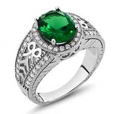 2.79 Ct Oval Green Simulated Emerald 925 Sterling Silver Ring