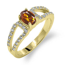 1.18 Ct Oval Orange Red Madeira Citrine 14K Yellow Gold Ring