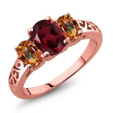 2.50 Ct Oval Rhodolite Garnet and Mystic Topaz Gold Plated 925 Silver Ring