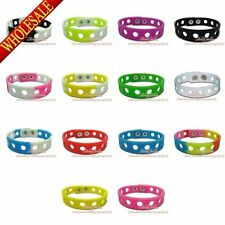 50Pcs Silicone Wristbands Bracelets,Shoe Charms decorate Bands,14 colors,Gift