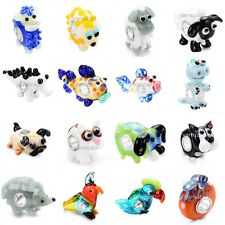 Choose 2pcs SILVER MURANO GLASS BEAD LAMPWORK Animal fit European Charm Bracelet