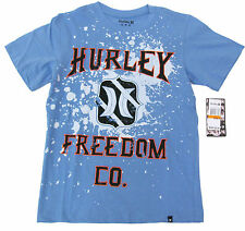 Hurley Boys Blue Tee Shirt with Logo Short Sleeve Cotton T-shirt