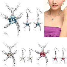 Women Starfish Crystal Rhinestone Pendant Necklace Earring Jewely Set Metal
