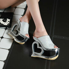 New Womens Summer High-heeled shoes slippers Heart-shaped Sexy Paillette Shoes
