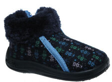 Boys Slippers Grosby Zip Up Boot Slipper Robot Navy Multi Size 4-12 New