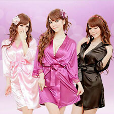 Women Sexy Satin Lace Silk Soft Underwear Lingerie Nightdress Sleepwear Robe