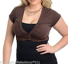 Brown Lace Trim Button Front Cap Sleeve Cropped Bolero/Shrug Cover-Up Plus Top