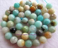 """4,6,8,10,12,14mm Natural Multicolor Amazonite Round faceted loose beads 15"""""""