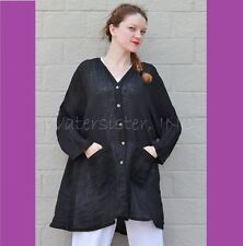 KLEEN Flax Linen Long BIG DUSTER Pocket Smock Jacket Plus 1X 2X 3X  BLACK GAUZE