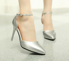 Sexy Ladies Pointy Toe Ankle Strap Shoes Stilettos High Heels Wedding Shoes Size