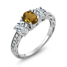 1.82 Ct Oval Whiskey Quartz White Topaz 925 Sterling Silver Ring