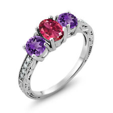 1.87 Ct Oval Pink Tourmaline Purple Amethyst 925 Sterling Silver Ring