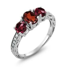 2.22 Ct Oval Red Garnet Red Rhodolite Garnet 925 Sterling Silver Ring