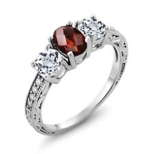 1.92 Ct Oval Checkerboard Red Garnet White Topaz 925 Sterling Silver Ring