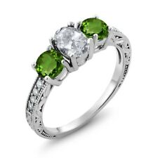 2.07 Ct Oval White Topaz Green Chrome Diopside 925 Sterling Silver Ring