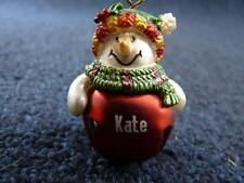 Cute GANZ Personalized Name SNOWMAN Jingle Bell Ornament K thru P