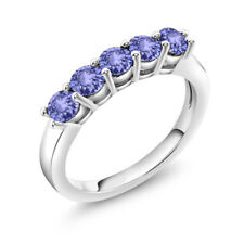 0.90 Ct Round Blue Tanzanite 925 Sterling Silver Ring