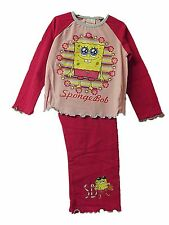 CUTE NEW GIRLS SPONGEBOB SQUAREPANTS 100% COTTON LONG PINK PYJAMAS AGE 1 - 4 yrs