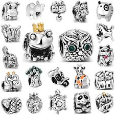 925 Silver Sterling Charm Animals Cat Horse Frog Owl Fit 3mm European Bracelet