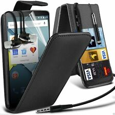 Top Flip PU Leather Phone Case Cover✔In Ear Stereo Handsfree Headset Headphones