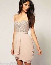 Lipsy VIP Pale Pink/Nude Pearl & Diamante Embellished Bustier Tulip Dress Sz 18