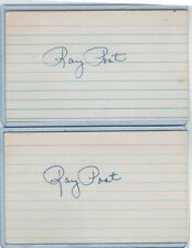 (2) RAY POAT INDEX CARD SIGNED LOT 1947-49 NY GIANTS PSA/DNA CERTIFIED 1917-1990