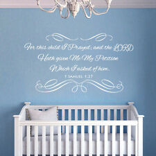 Scripture Bible Wall Decal For This Child I Prayed Quote Vinyl Kid Nursery Decor
