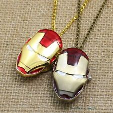 Three Colors Cute Iron Man Popular Bronze Pocket Watch Necklace Pendant Unisex