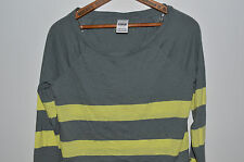 Victorias Secret Pink Long Sleeve Gray Yellow Striped T Shirt Small Top